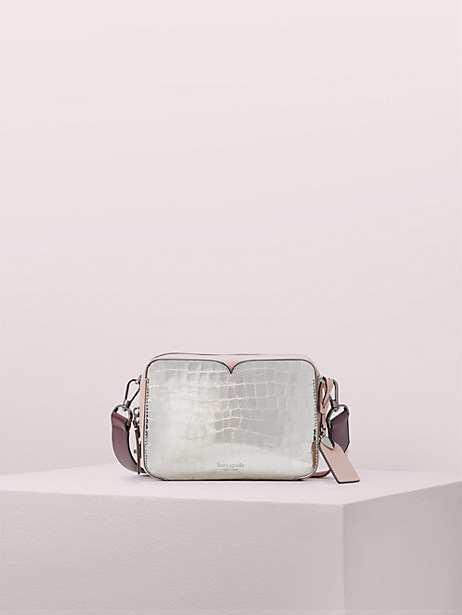 candid metallic croc-embossed medium camera bag by kate spade new york