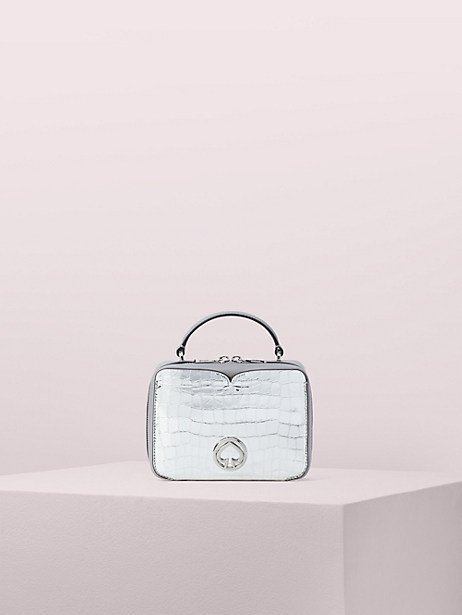 vanity metallic croc-embossed mini top handle bag by kate spade new york