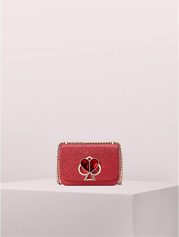 Nicola Kleine, verwandelbare Schultertragetasche aus Glitzerstoff, mit Drehverschluss und Kettenriemen, , rr_large