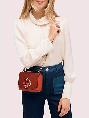 Nicola Kleine, verwandelbare Schultertragetasche aus Glitzerstoff, mit Drehverschluss und Kettenriemen, , rr_productgrid