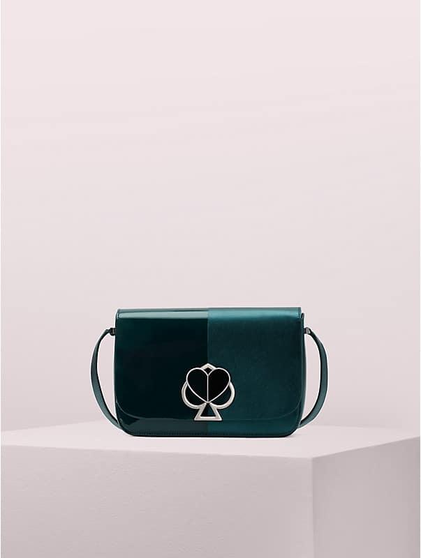 nicola metallic bicolor twistlock medium shoulder bag, , rr_large