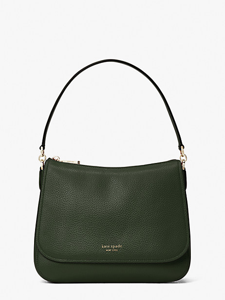 polly medium convertible flap shoulder bag, deep evergreen, large by kate spade new york