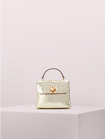 romy metallic croc-embossed mini top handle bag, , rr_productgrid
