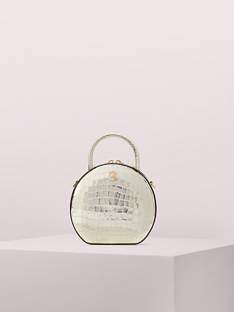 andi metallic croc-embossed canteen bag, gold, large by kate spade new york