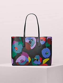 molly floral collage large tote, black multi, medium