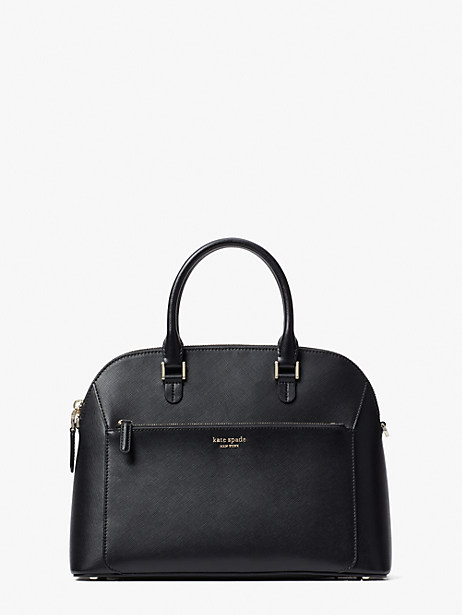 louise medium dome satchel, black, large by kate spade new york