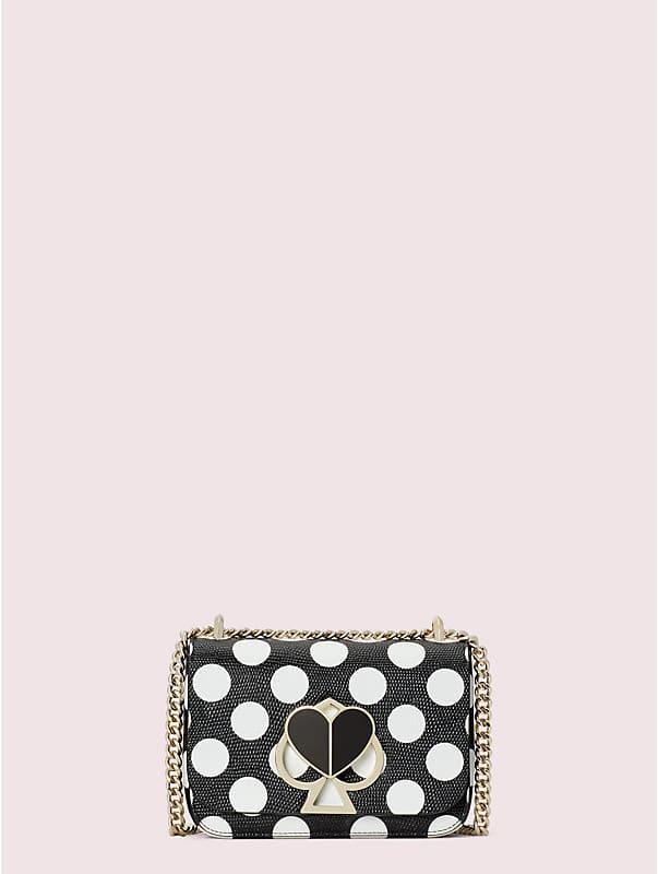 Nicola Kleine, verwandelbare Schultertragetasche mit geprägtem Tupfenmuster, Kettenriemen und Drehverschluss, , rr_large