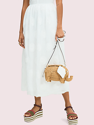 tiny wicker large elephant crossbody by kate spade new york hover view
