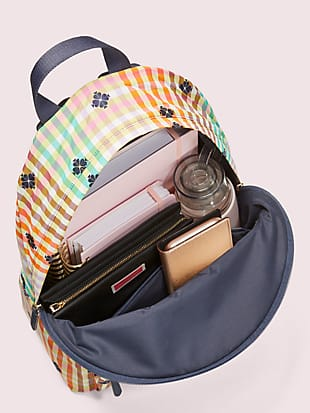 the bella plaid city pack large backpack by kate spade new york hover view