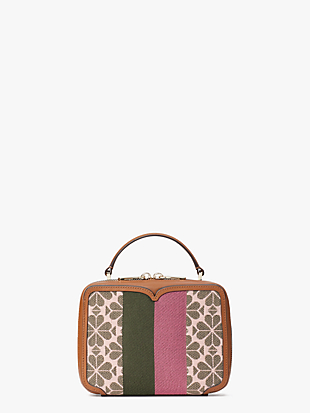 spade flower jacquard vanity stripe mini top-handle bag by kate spade new york non-hover view