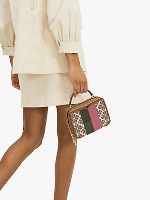 spade flower jacquard vanity stripe mini top-handle bag by kate spade new york hover view