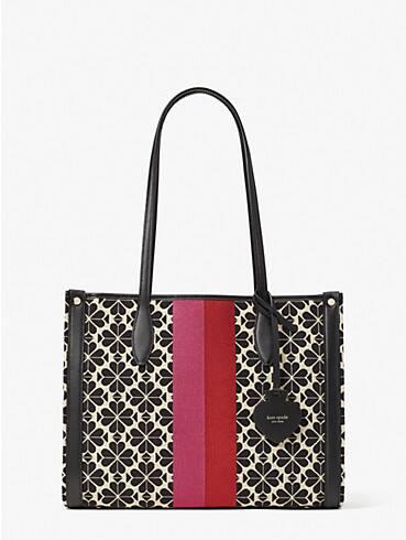 Spade Flower Market Tote Bag aus Jacquard mit Streifen, mittelgroß, , rr_productgrid