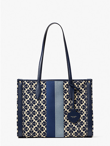 spade flower jacquard stripe market medium tote, , rr_productgrid