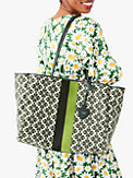 everything spade flower jacquard stripe large tote, , s7productThumbnail