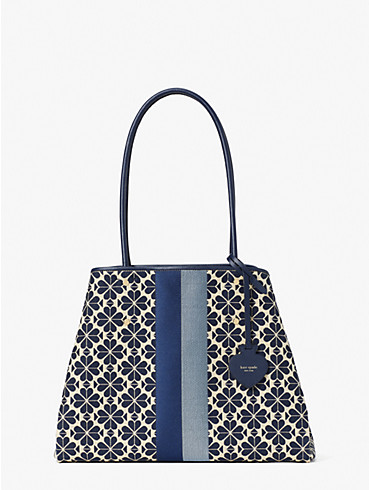 spade flower jacquard everything stripe large tote, , rr_productgrid