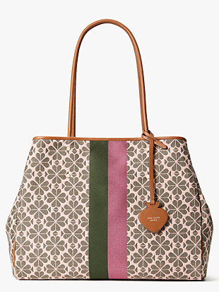 everything logo-jacquard stripe large tote by kate spade new york non-hover view