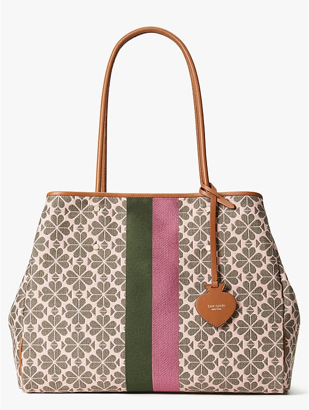 spade flower jacquard everything stripe large tote, , rr_large