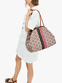 spade flower jacquard everything stripe large tote, , s7productThumbnail