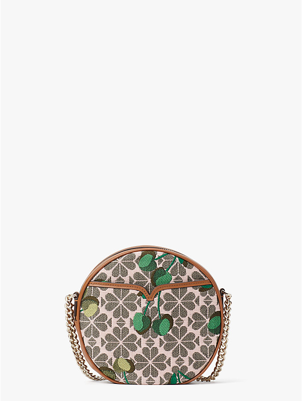 spade flower jacquard drum cherry medium crossbody, , rr_large