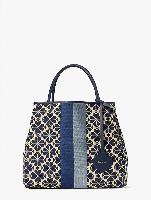 spade flower jacquard everything stripe medium tote, , rr_large