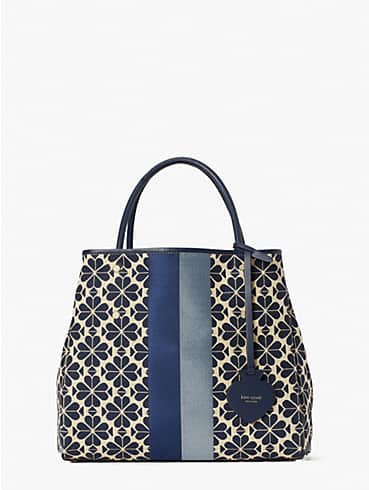 spade flower jacquard everything stripe medium tote, , rr_productgrid