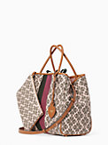 spade flower jacquard everything stripe medium tote, , s7productThumbnail