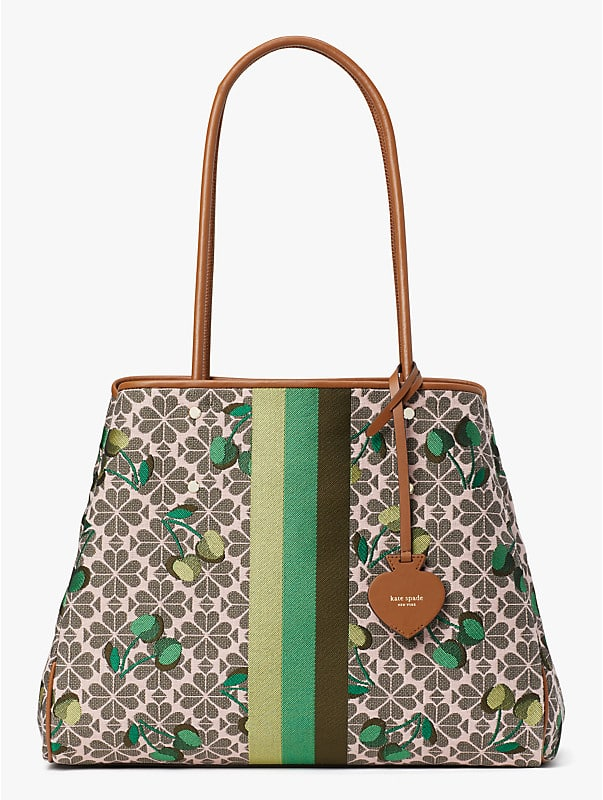 spade flower jacquard everything cherry tricolor stripe large tote, , rr_large