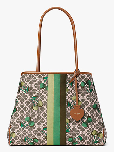 everything cherry tricolor spade flower jacquard stripe large tote, , rr_productgrid