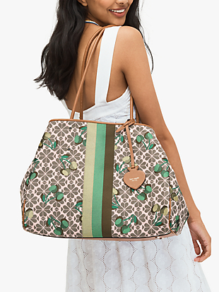 everything cherry tricolor spade flower jacquard stripe large tote by kate spade new york hover view