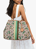 spade flower jacquard everything cherry tricolor stripe large tote, , s7productThumbnail