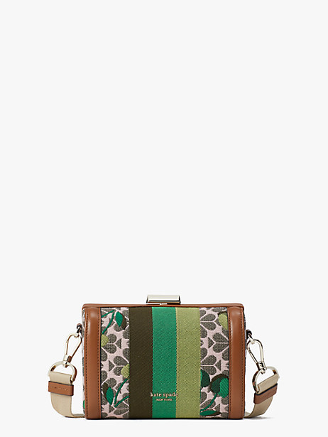 spade flower jacquard bijou cherry tricolor stripe medium crossbody by kate spade new york