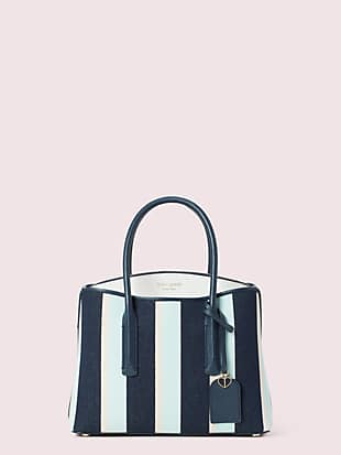 margaux canvas stripe medium satchel by kate spade new york non-hover view