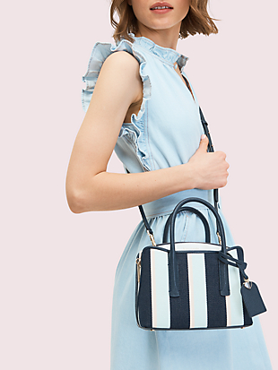 margaux canvas stripe mini satchel by kate spade new york hover view