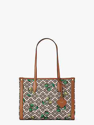 spade flower jacquard market cherry medium tote by kate spade new york non-hover view