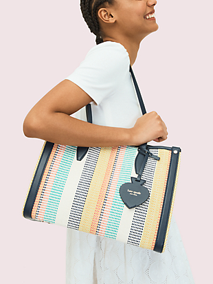 market woven stripe medium tote by kate spade new york hover view