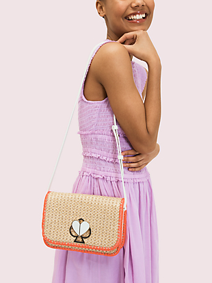 nicola raffia twistlock medium shoulder bag by kate spade new york hover view