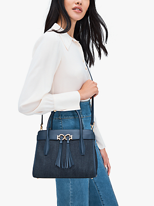 toujours denim medium satchel by kate spade new york hover view
