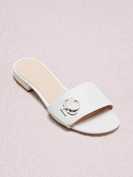 ferry slide sandals, white, large by kate spade new york