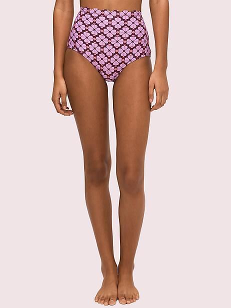 spade flower high-waist bikini bottom, raisin, large by kate spade new york