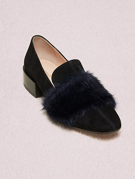 gama loafers, black / moonlit, large by kate spade new york