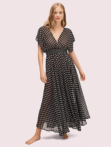 lia dot cover-up dress, black, large by kate spade new york