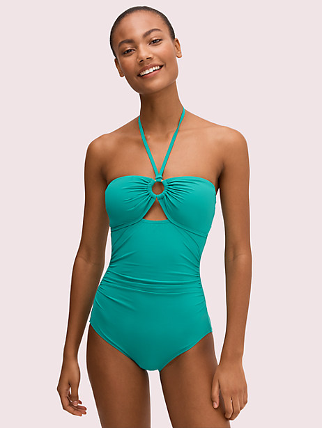 bandeau one-piece, jade, large by kate spade new york