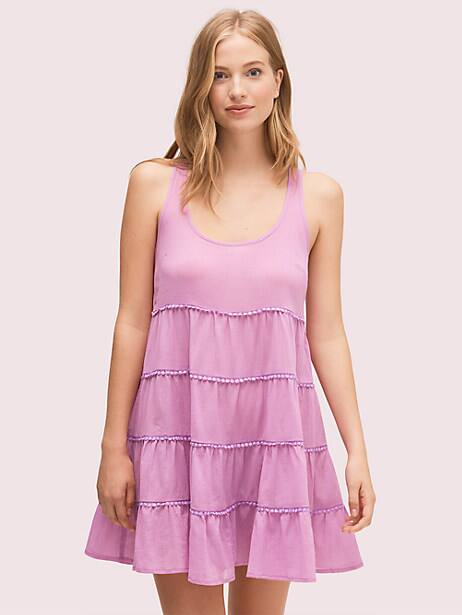 tiered cover-up dress, candied lilac, large by kate spade new york
