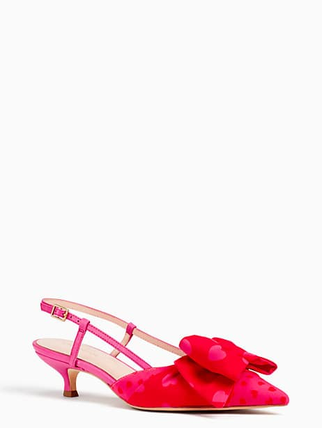 daxton kitten heels, begonia/engine red heart print, large by kate spade new york