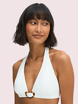 heart-buckle halter bikini top by kate spade new york hover view