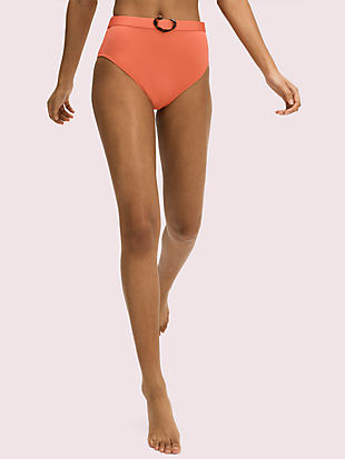 heart-buckle belted high-waist bikini bottom by kate spade new york non-hover view