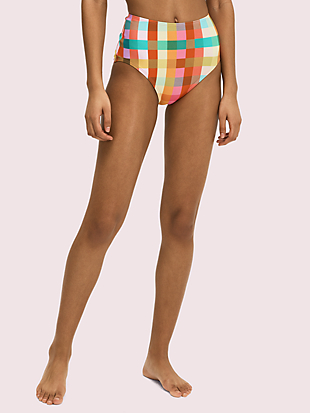 garden plaid high-waist bikini bottom by kate spade new york non-hover view