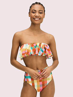 garden plaid high-waist bikini bottom by kate spade new york hover view