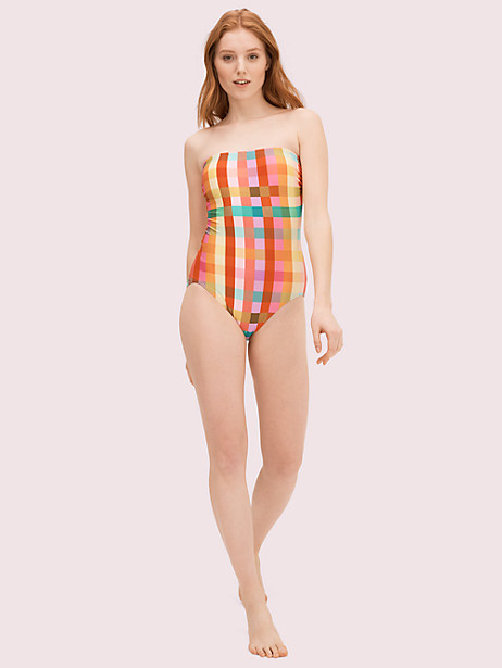 garden plaid classic bandeau one-piece by kate spade new york