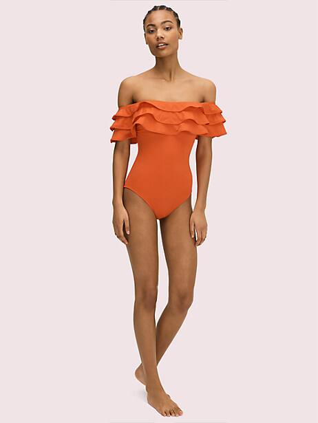 palm beach ruffle off-the-shoulder one-piece by kate spade new york